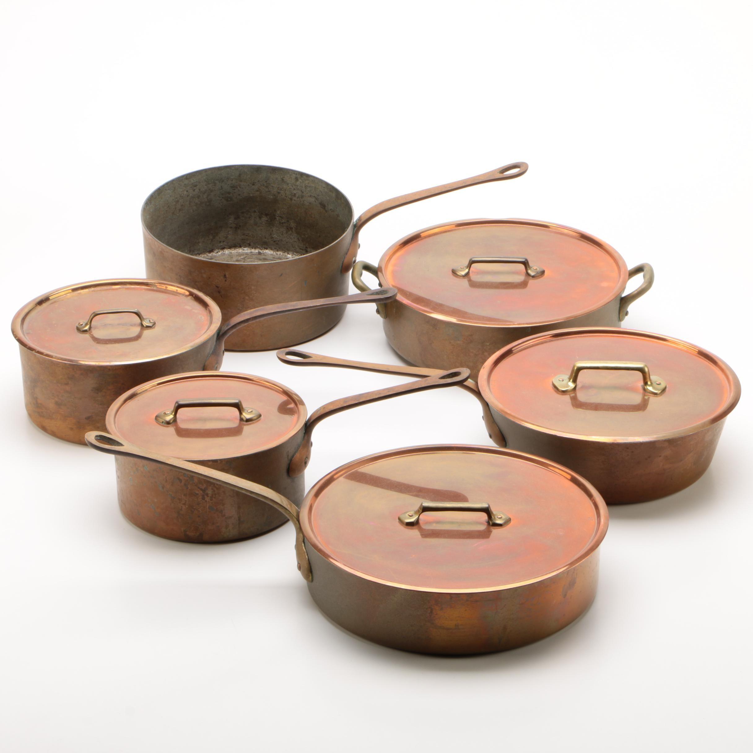 American Waldow Tin-Lined Copper Saucepans, Saucier and Sauté Pans, Mid-Century