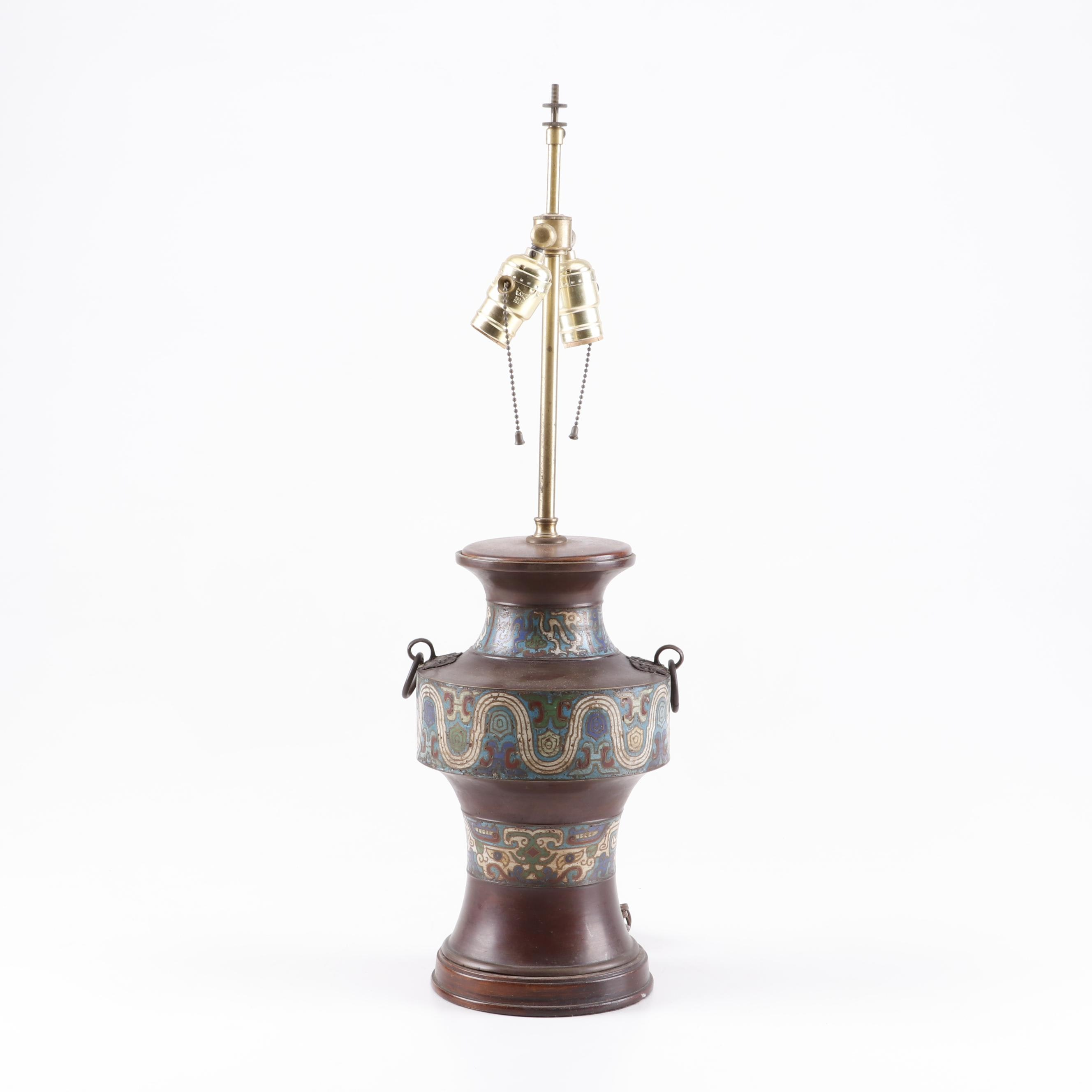Converted Champlevé Bronze Vase Table Lamp, Early 20th Century