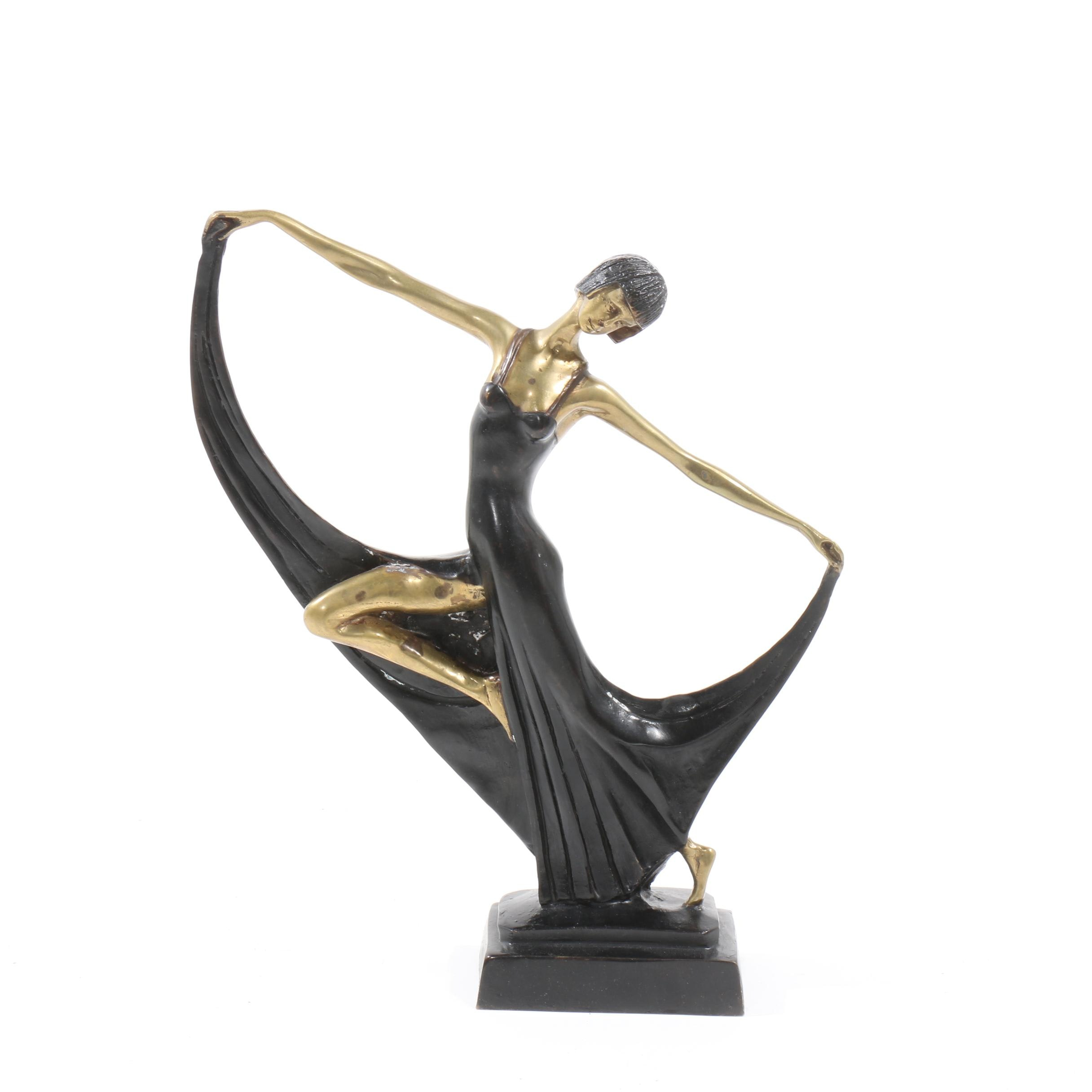 Brass Sculpture of Art Deco Style Figure