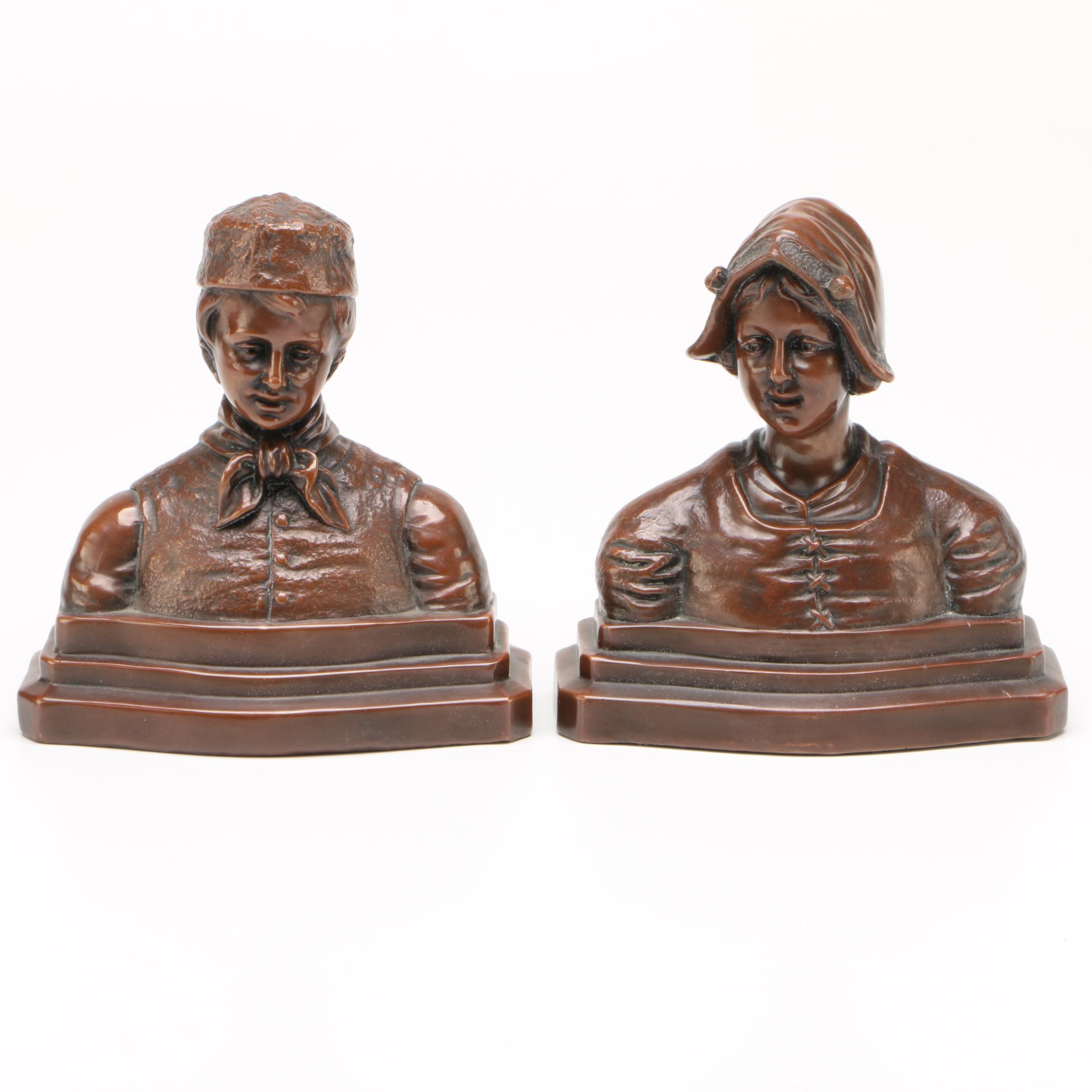 Cast Metal Busts of Folk Dutch Figures Bookends After Armour Bronze