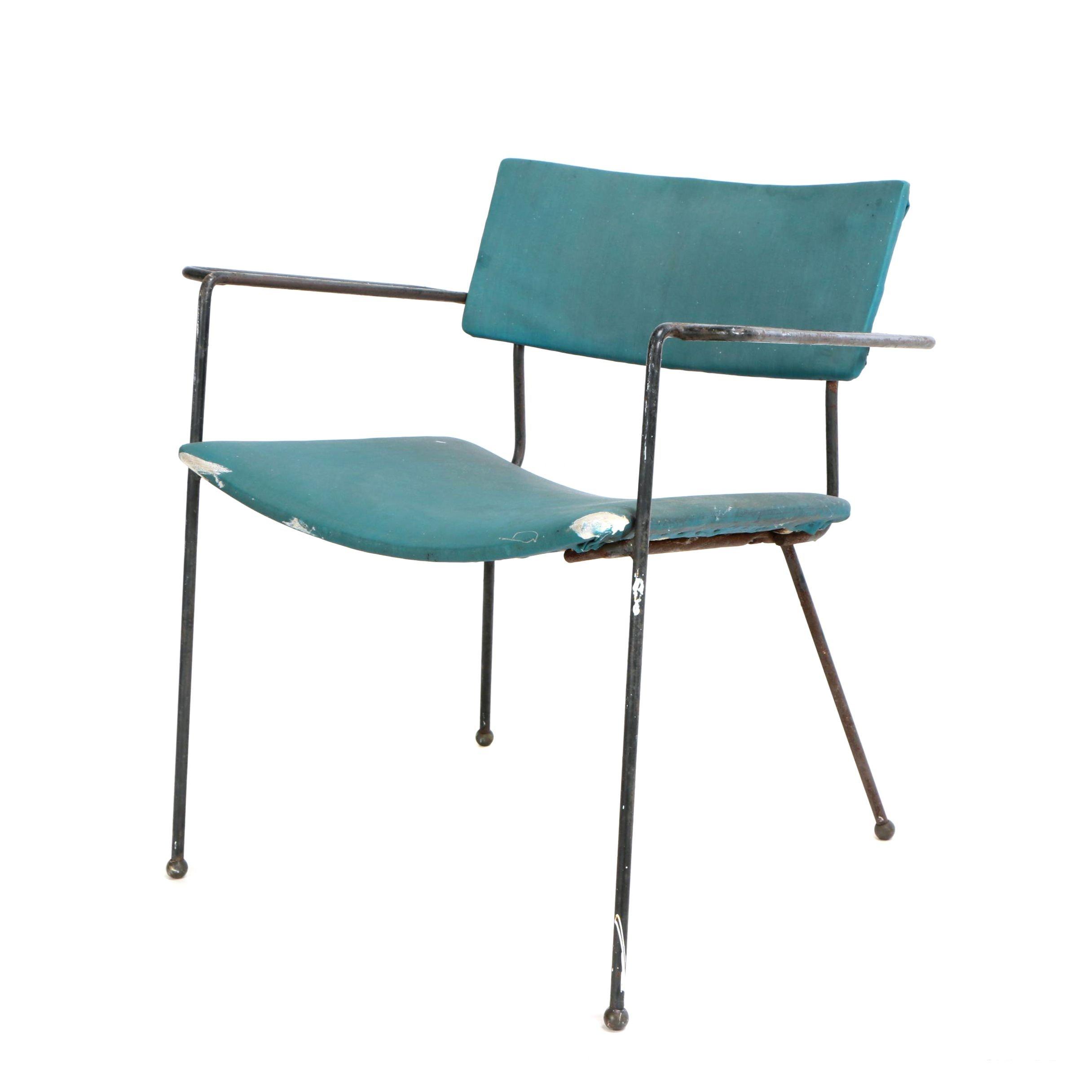 Mid Century Modern Black-Painted Steel Rod Open Armchair