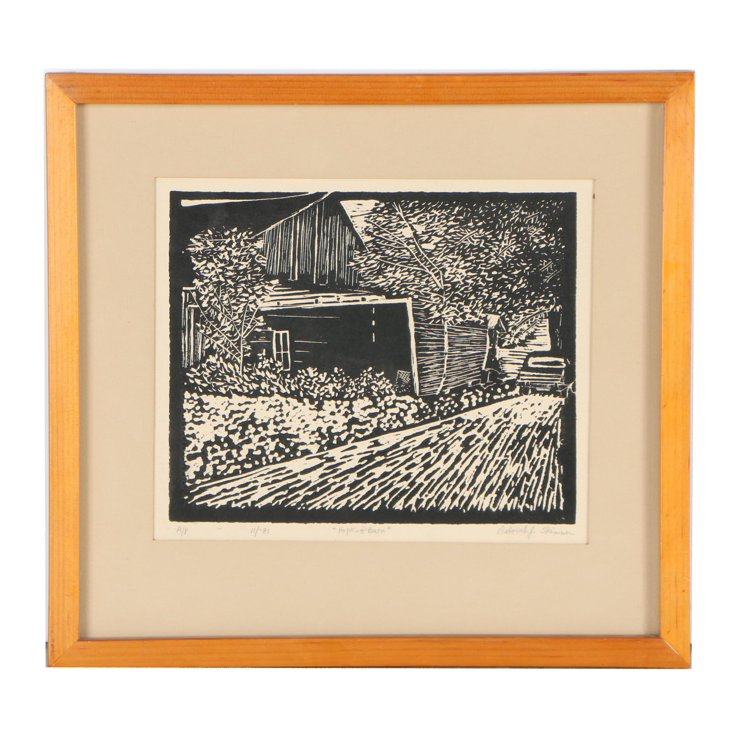 "Deborah J. Skinner Woodblock ""Hopkins Barn"""