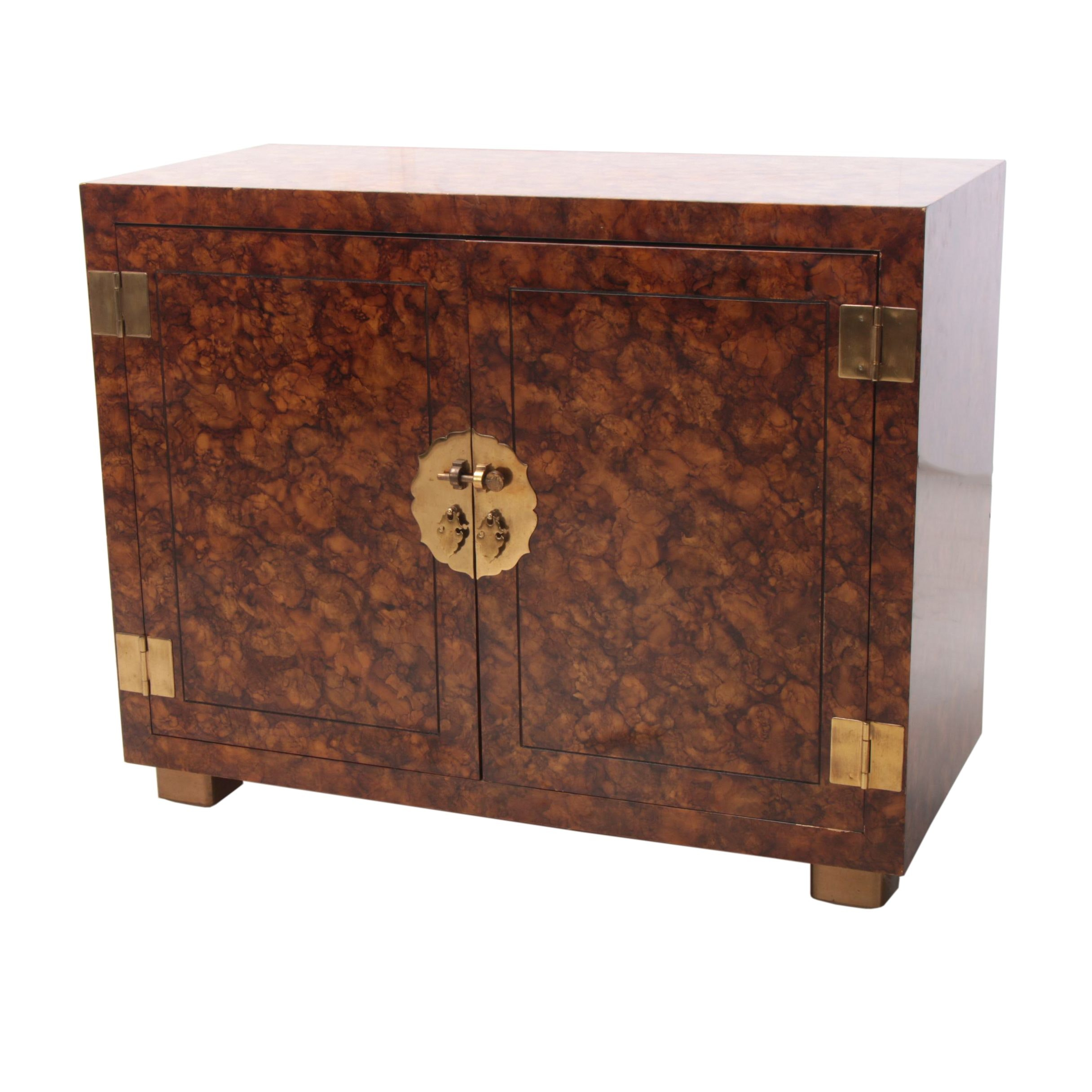 Chinese Style Faux-Tortoise Shell Painted Side Cabinet by Henredon, Circa 1970
