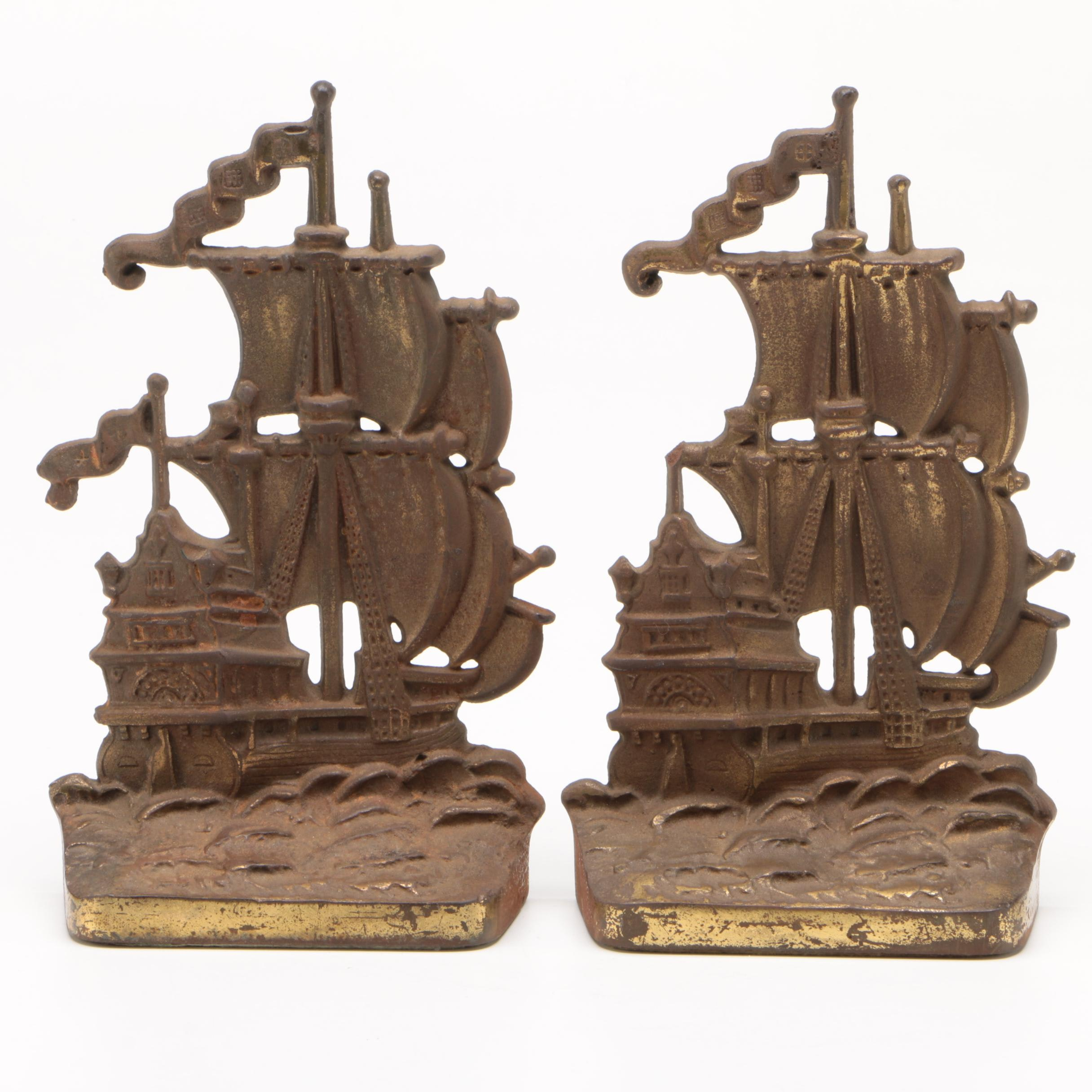 Cast Brass Ship Bookends, Early 20th Century