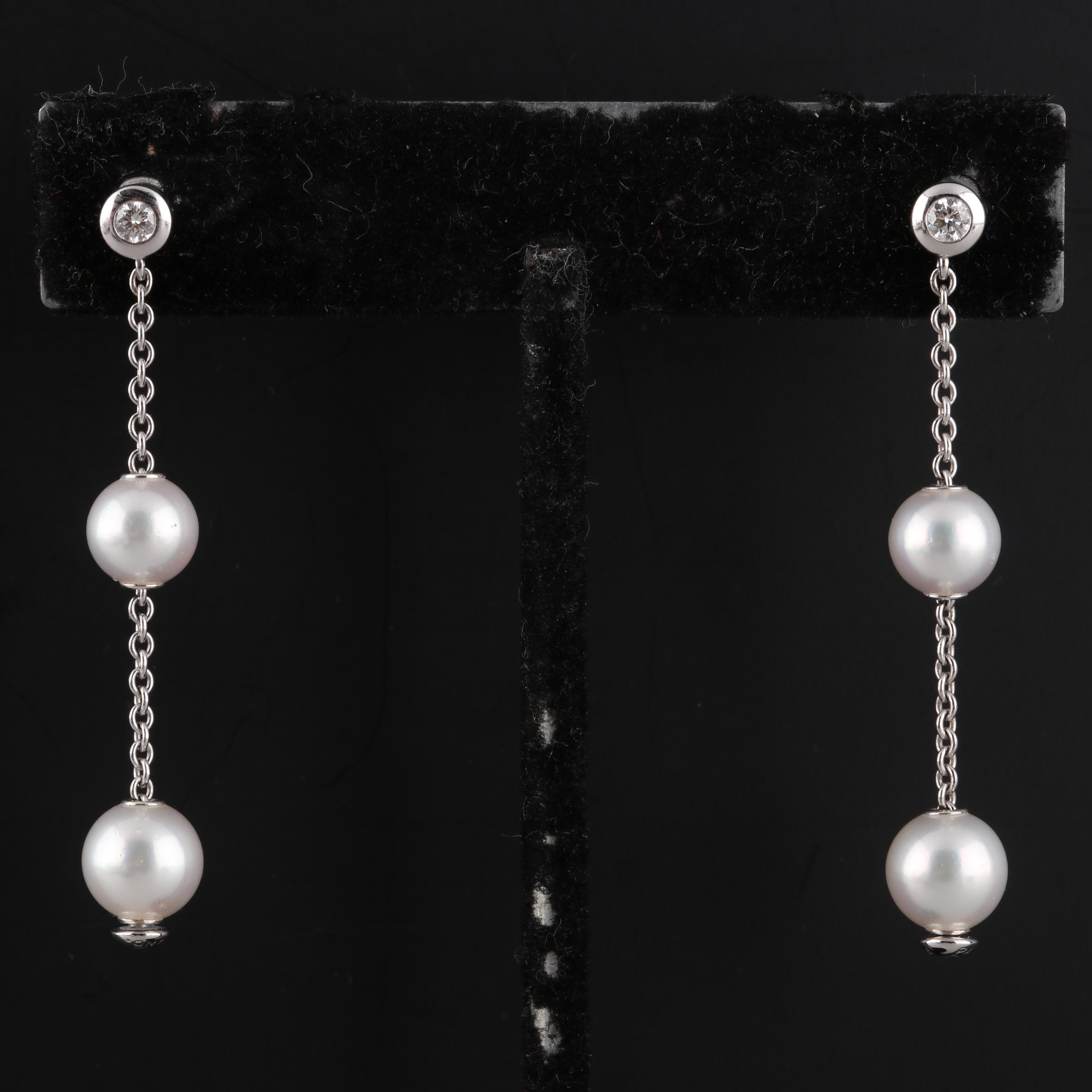 Mikimoto 18K White Gold Cultured Pearl and Diamond Earrings