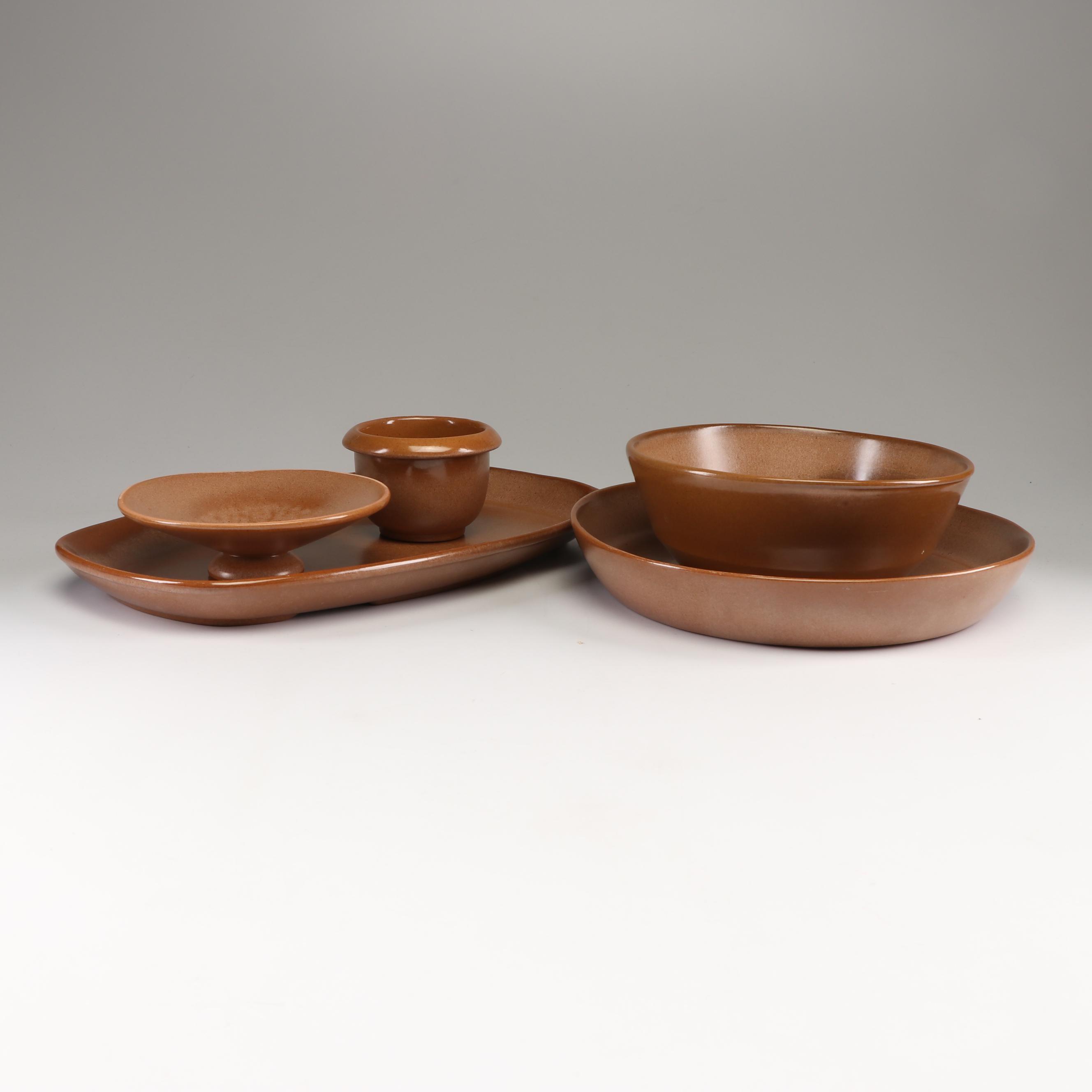 "Frankoma Pottery ""Brown Satin"" Dinnerware, Late 20th Century"
