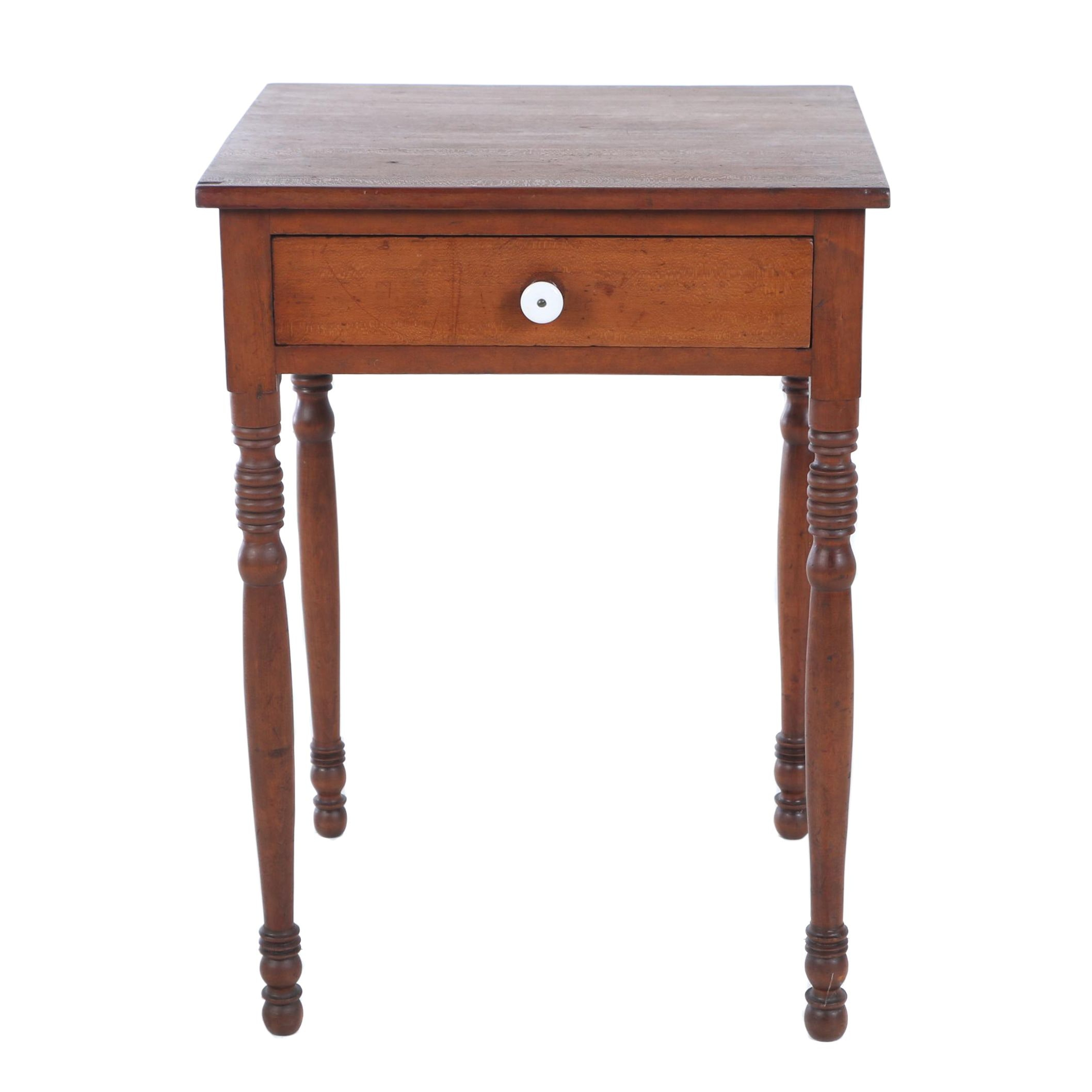 American Cherrywood One-Drawer Side Table, 19th Century