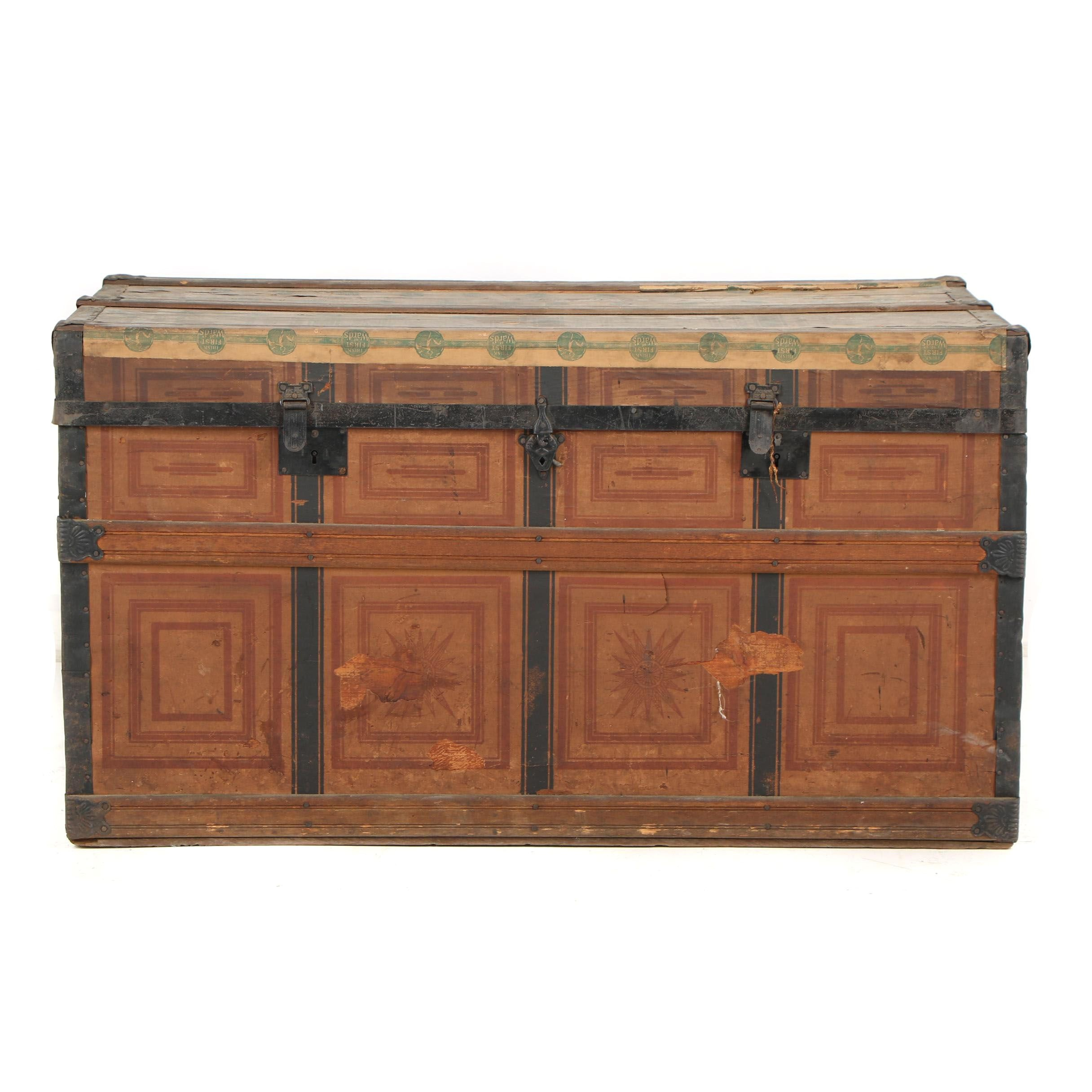 Metal and Decorated Paper Wooden Steamer Trunk, circa 1900
