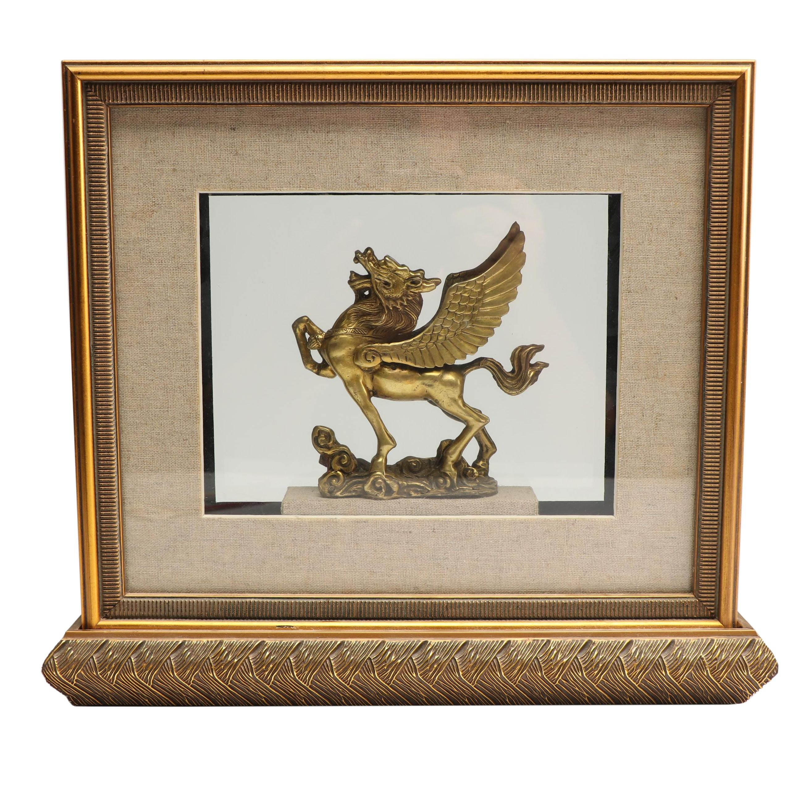 Winged Horse Sculpture in Tabletop Shadowbox