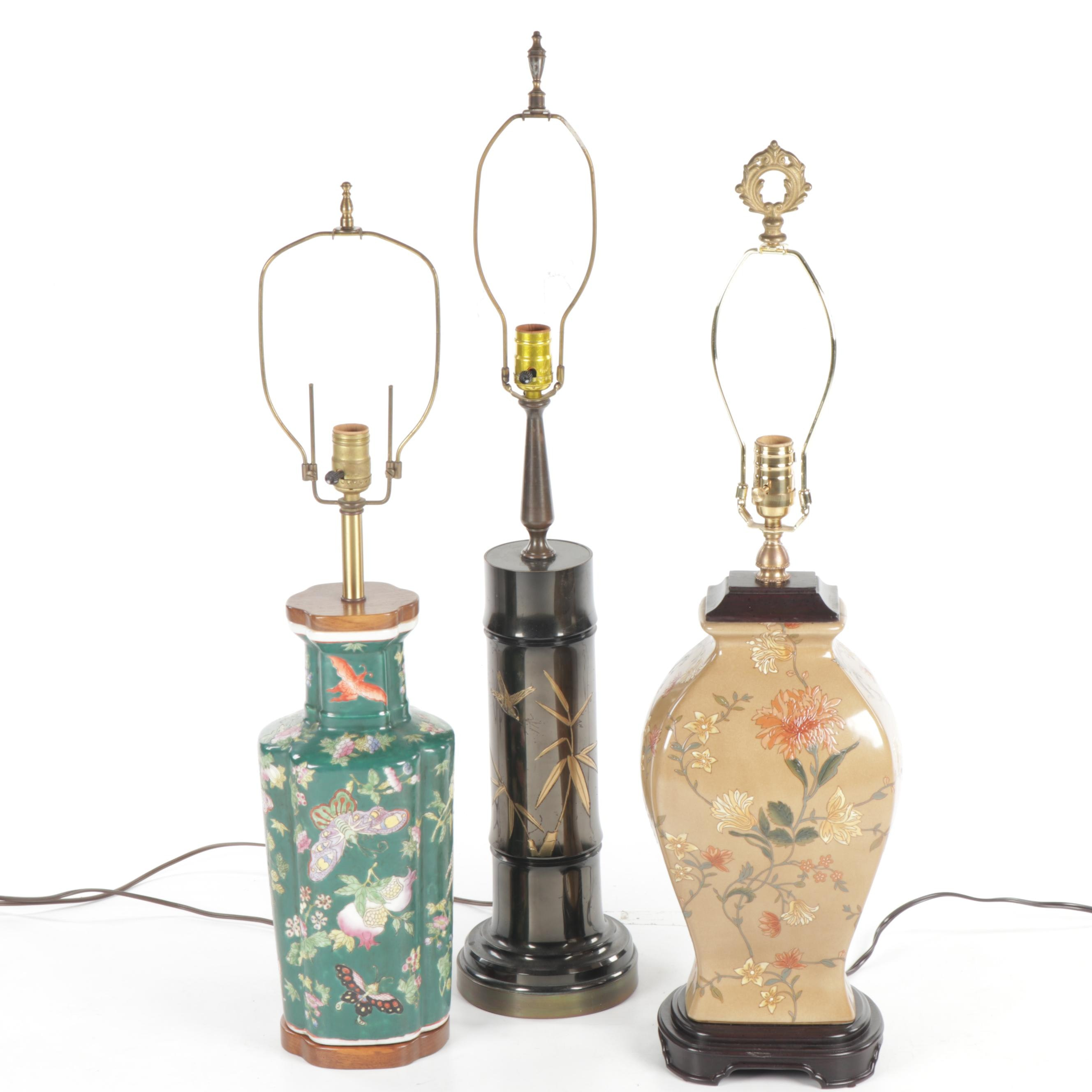 Collection of Asian Inspired Ceramic and Brass Lamps, with Excelsior