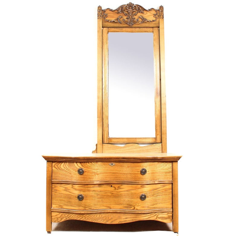 Vintage Wood Dresser with Mirror