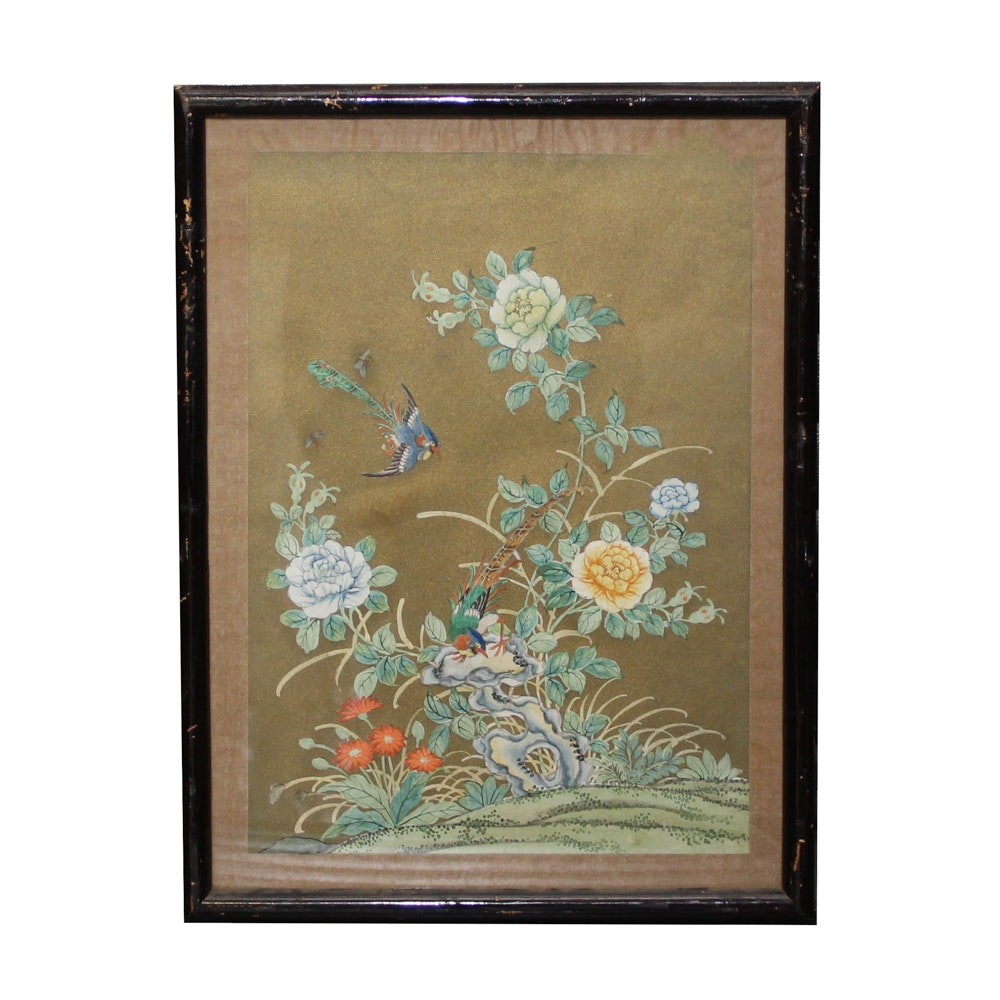 Asian Style Mixed Media Painting of Birds and Chrysanthemums