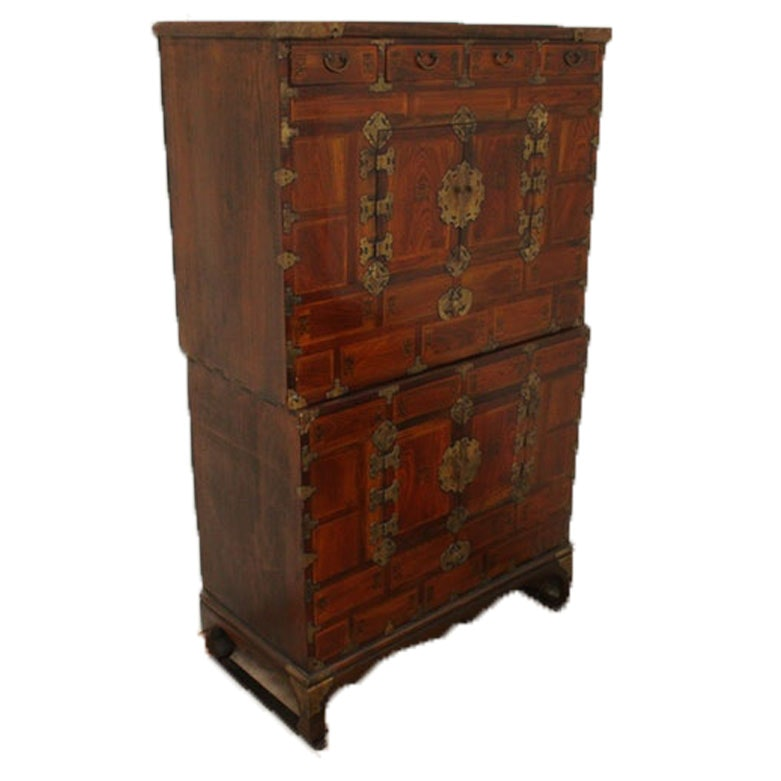 Antique Chinese Two-Piece Elmwood Blanket Chest