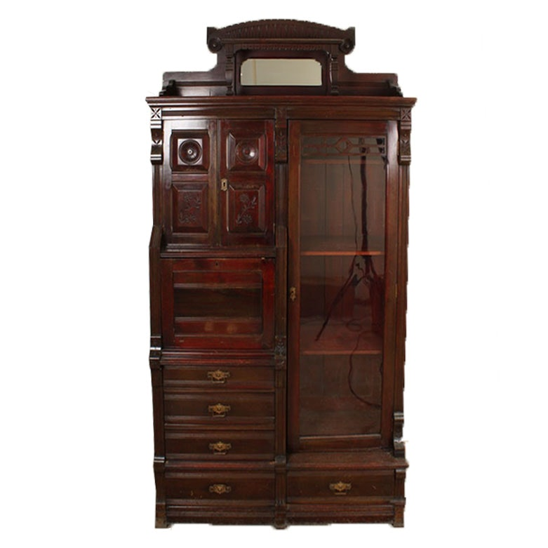 Victorian Poplar Secretary Bookcase, in the Eastlake Style, Circa 1900