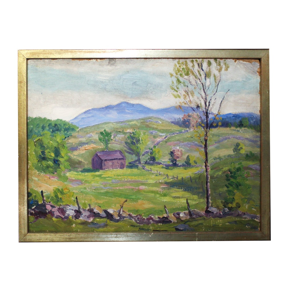 Emmett Pratt Oil Painting of Rural Scene