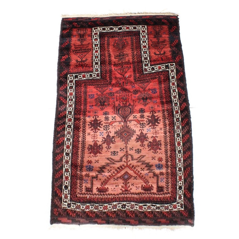 Hand-Knotted Persian Baluch Wool Prayer Rug with Silk Accents, circa 1930
