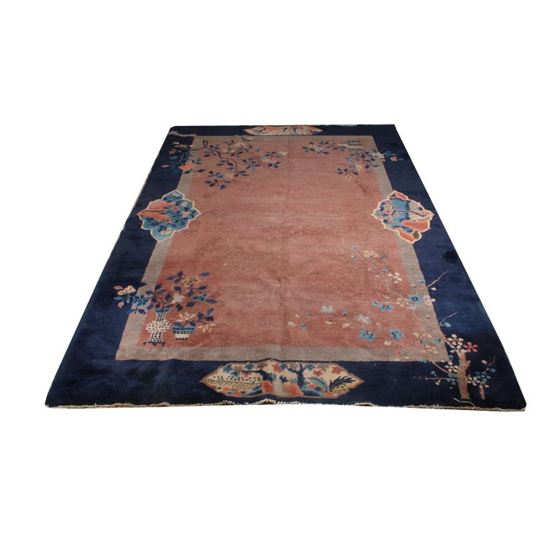 Hand-Knotted Chinese Art Deco Nichols Style Rug, Early 20th Century