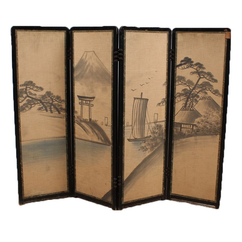 Vintage Japanese Embroidered and Painted Silk Panel Screen