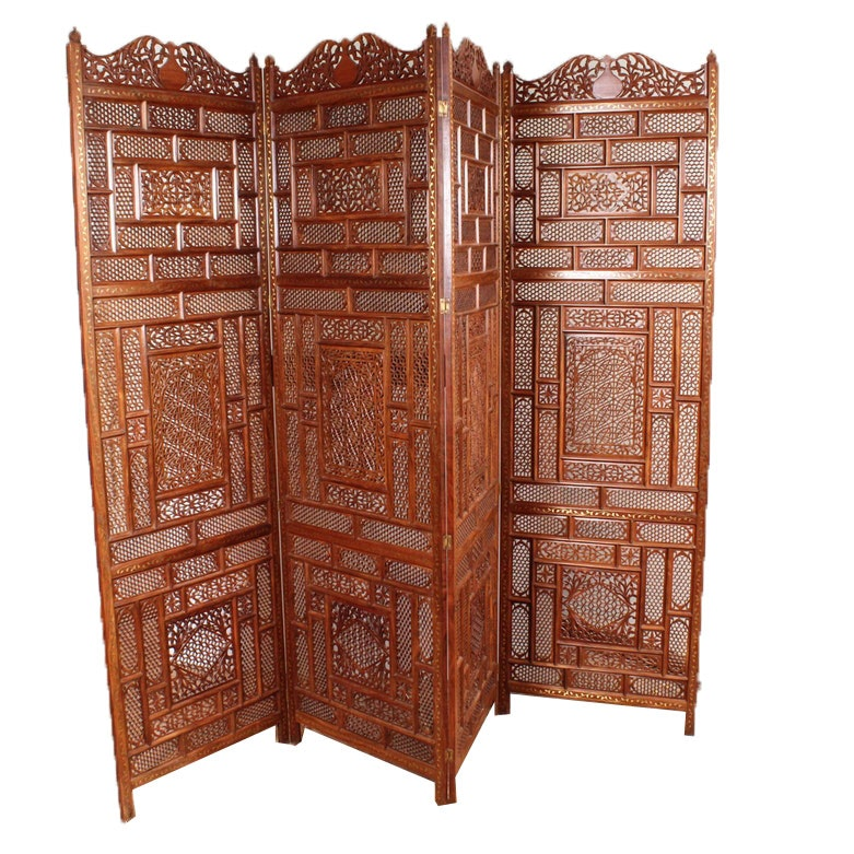 Indian Carved Wooden Folding Screen with Brass Inlay