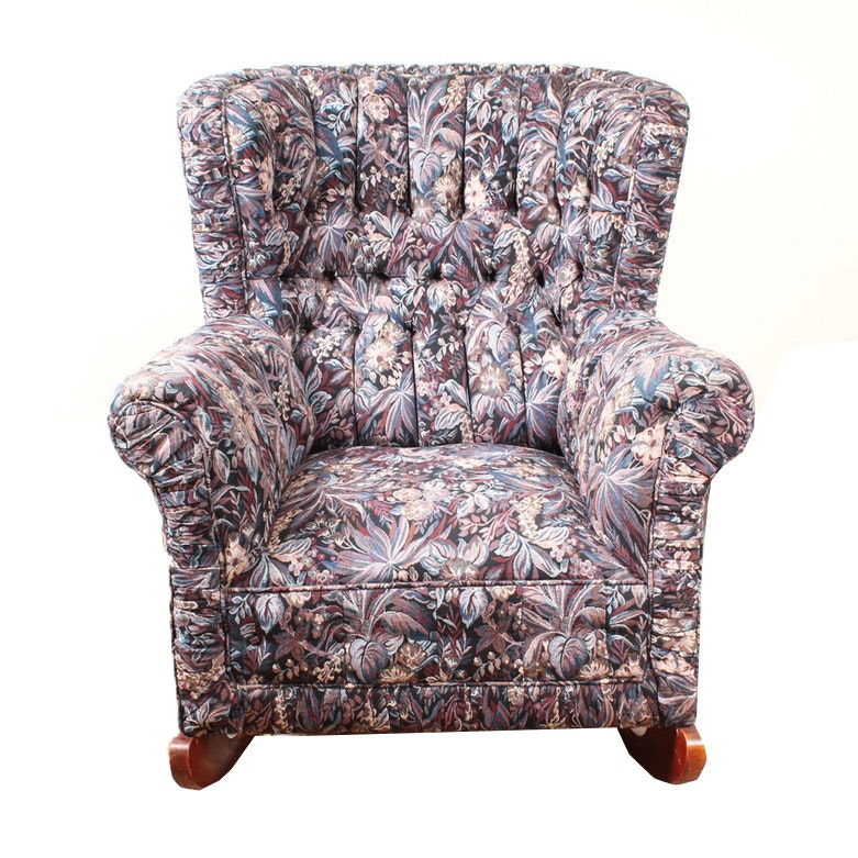 Vintage Button Tufted Rocking Armchair