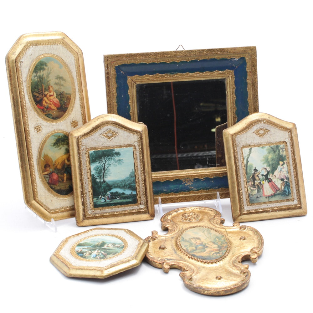 Florentine Antiqued Wall Plaques and Mirror