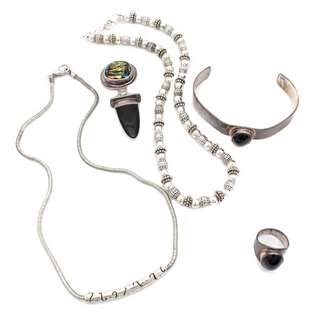 Sterling Silver Jewelry Including Onyx and Glass