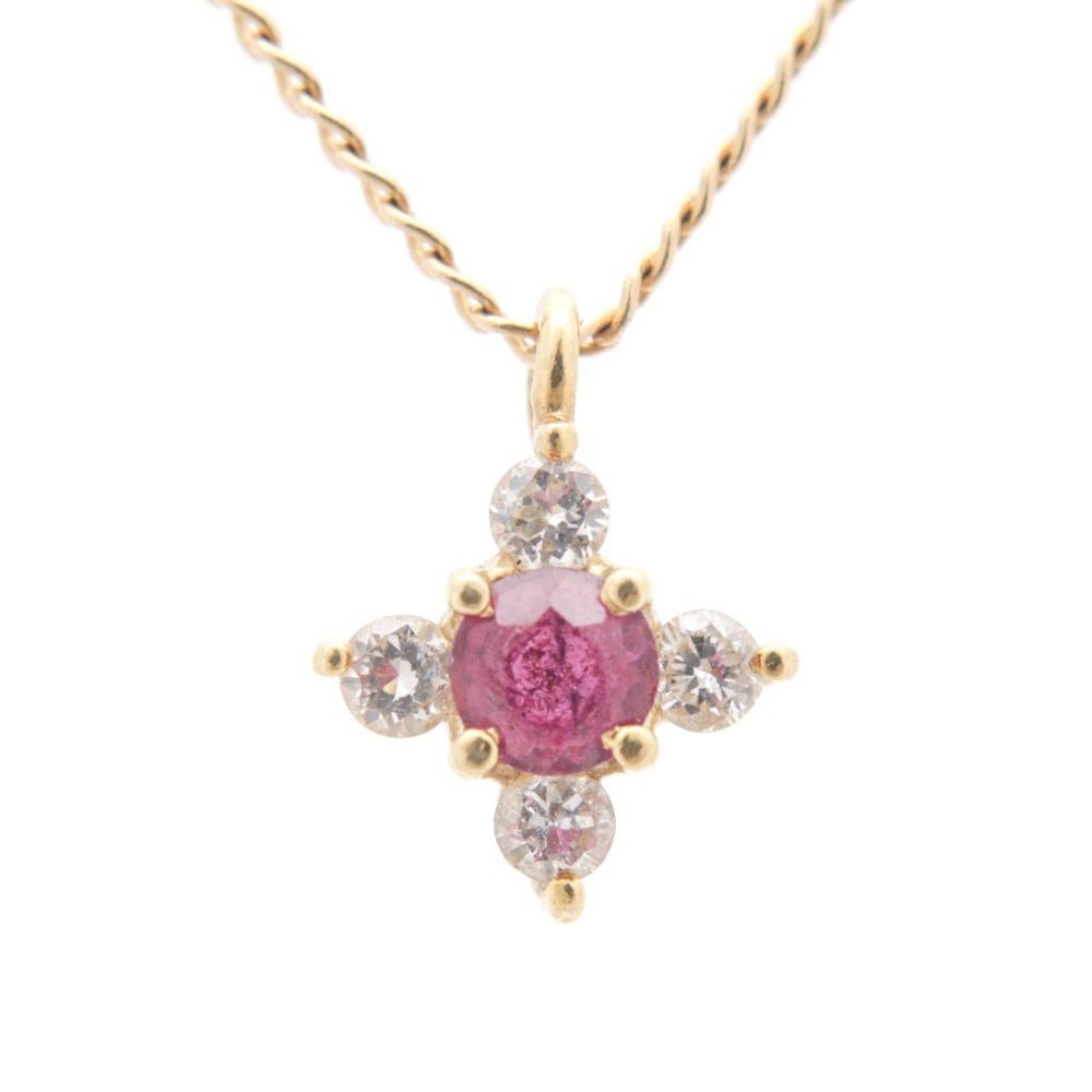 14K Yellow Gold Ruby and Diamond Pendant Necklace