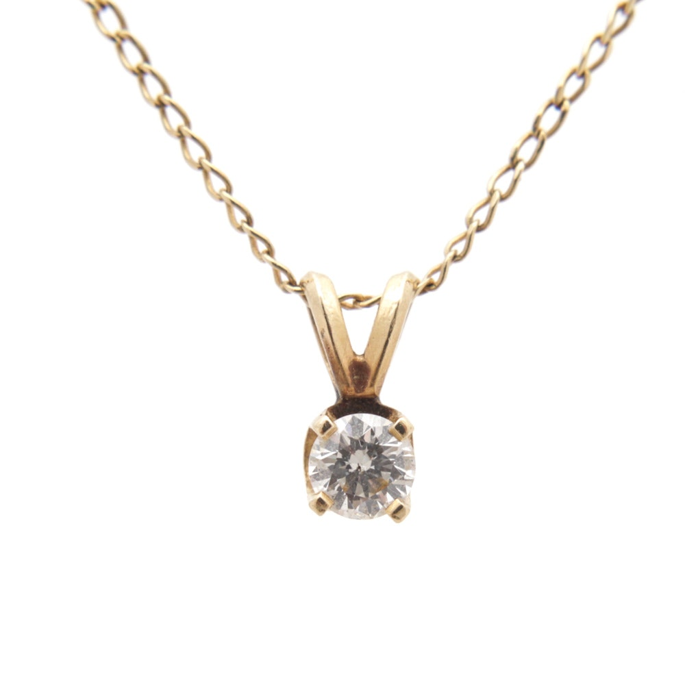 Speidel 14K Yellow Gold Diamond Solitaire Pendant Necklace