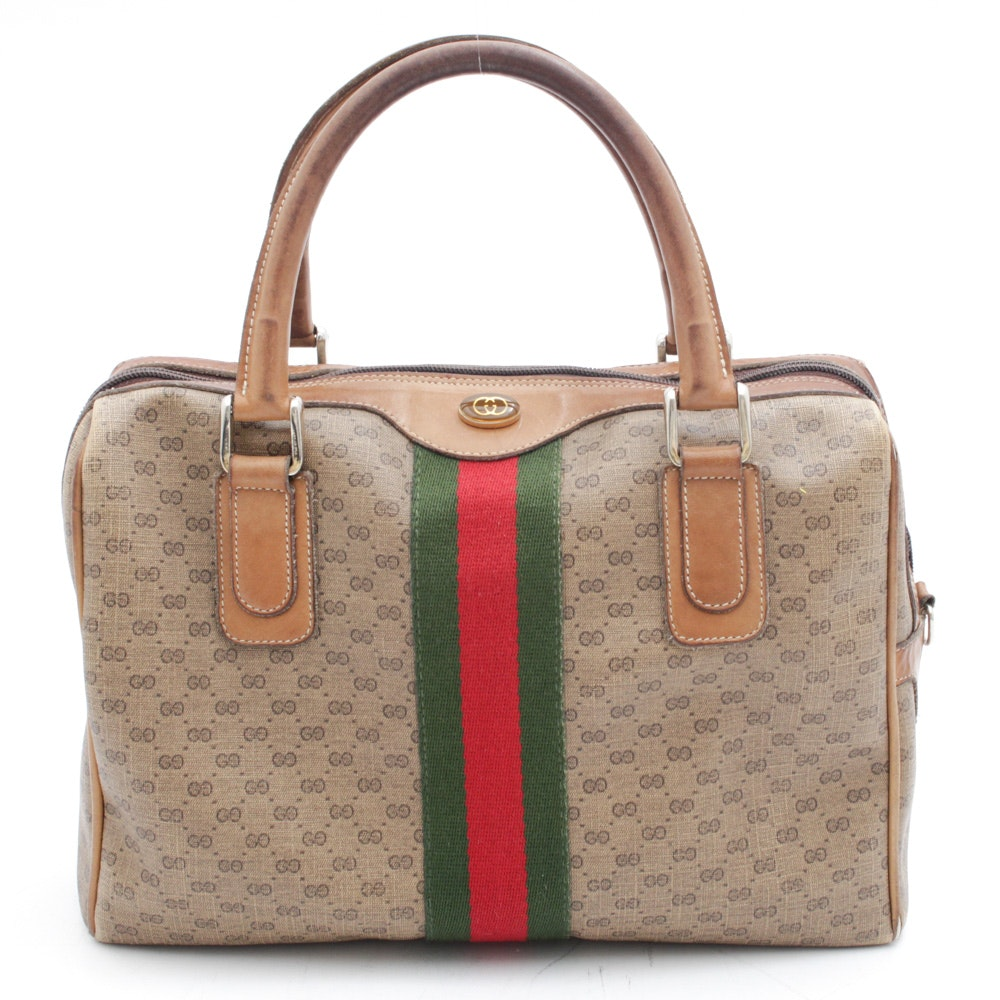 Gucci Accessory Collection GG Monogram Canvas and Leather Handbag, Vintage