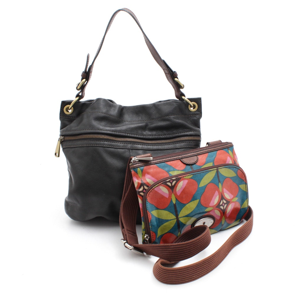 Fossil Coated Canvas Keeper and Pebbled Black Leather Hobo