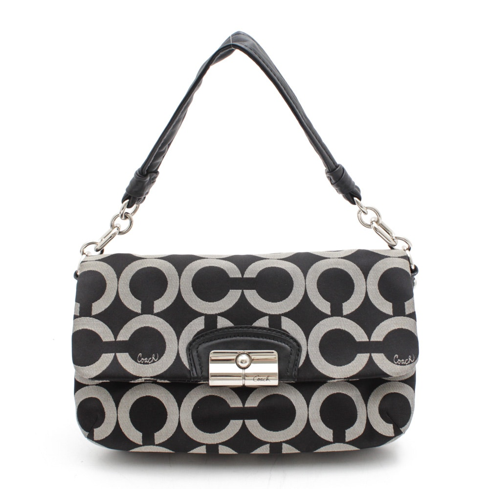 Coach Kristin Op Art Flap Grey and Black Sateen and Black Leather Handbag