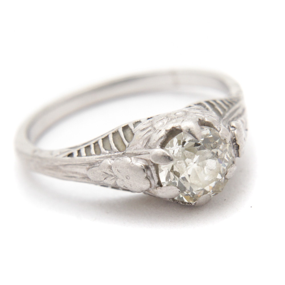 Edwardian 14K White Gold Old European Cut Diamond Engagement Ring