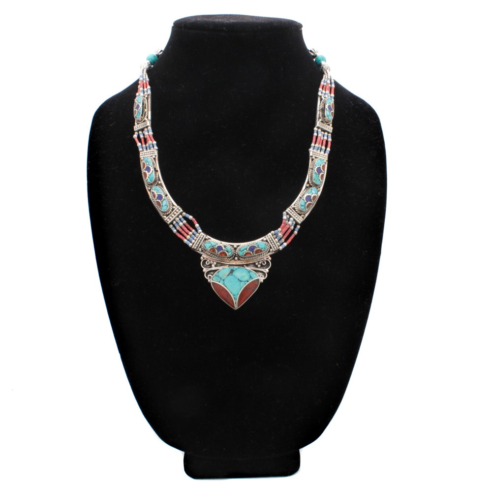Southwestern Style Sterling Silver Dyed Coral, Lapis and Turquoise Necklace