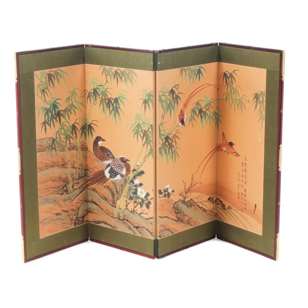 Japanese Gouache on Silk Four-Panel Screen