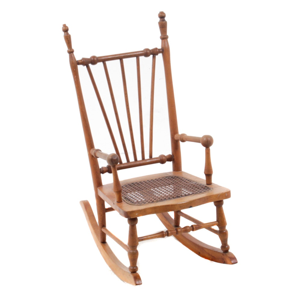 Victorian Oak Caned Seat Children's Rocking Chair
