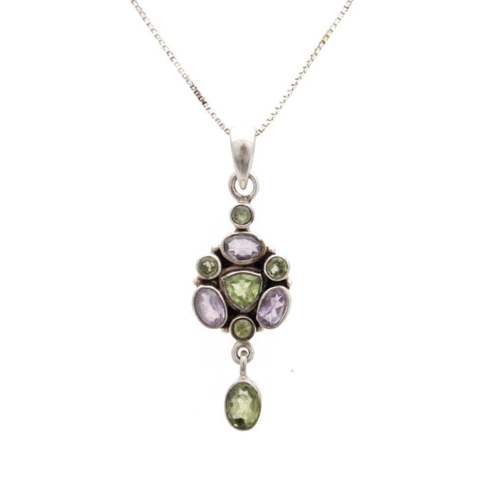 Sterling Silver Amethyst and Peridot Necklace