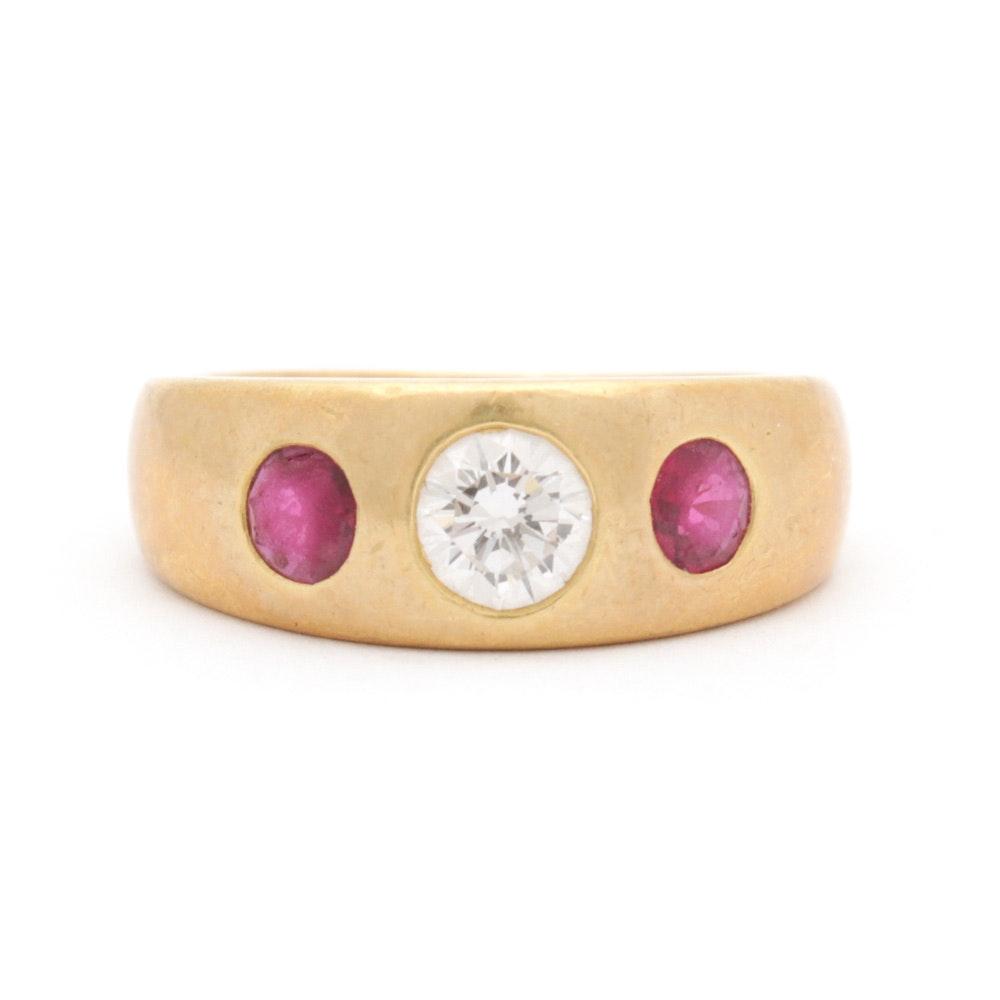 18K Yellow Gold Bezel Set Diamond and Ruby Ring