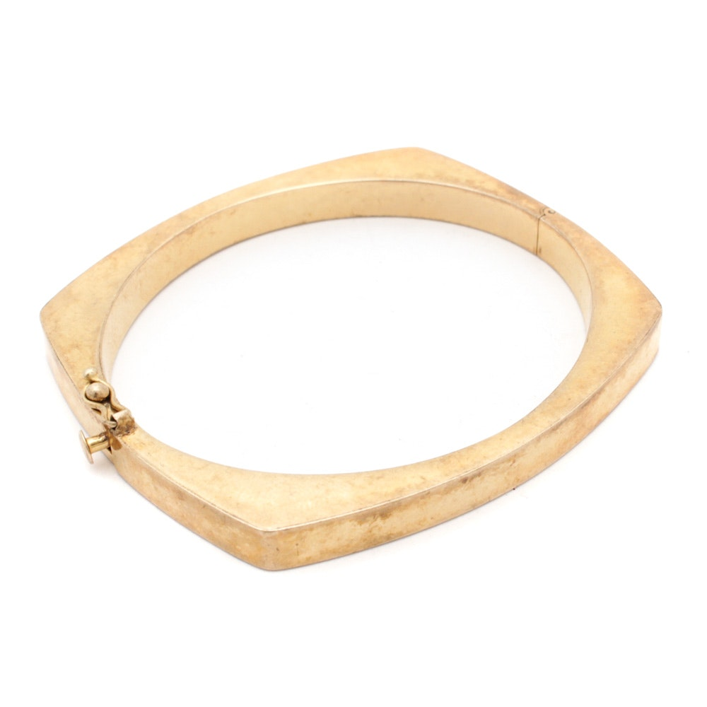 14K Yellow Gold Modernist Style Hinged Bangle Bracelet
