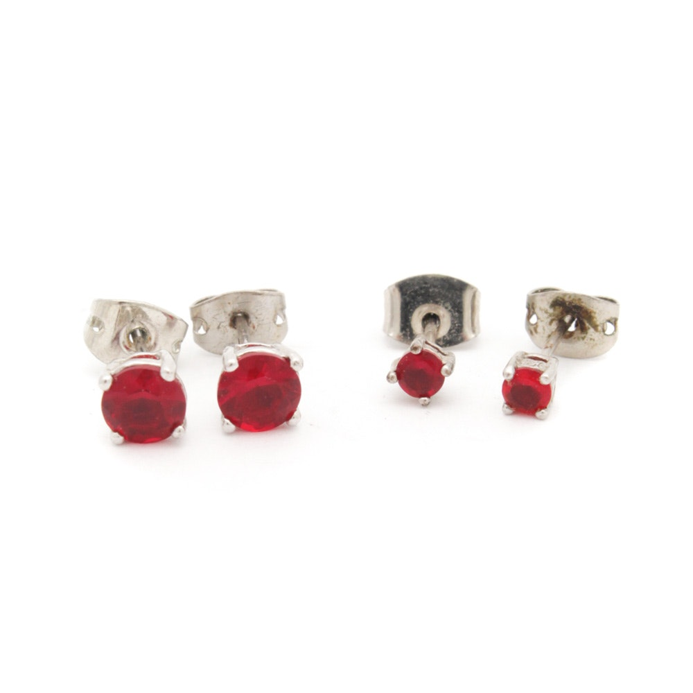 Two Pairs of Sterling Silver Synthetic Ruby Stud Earrings