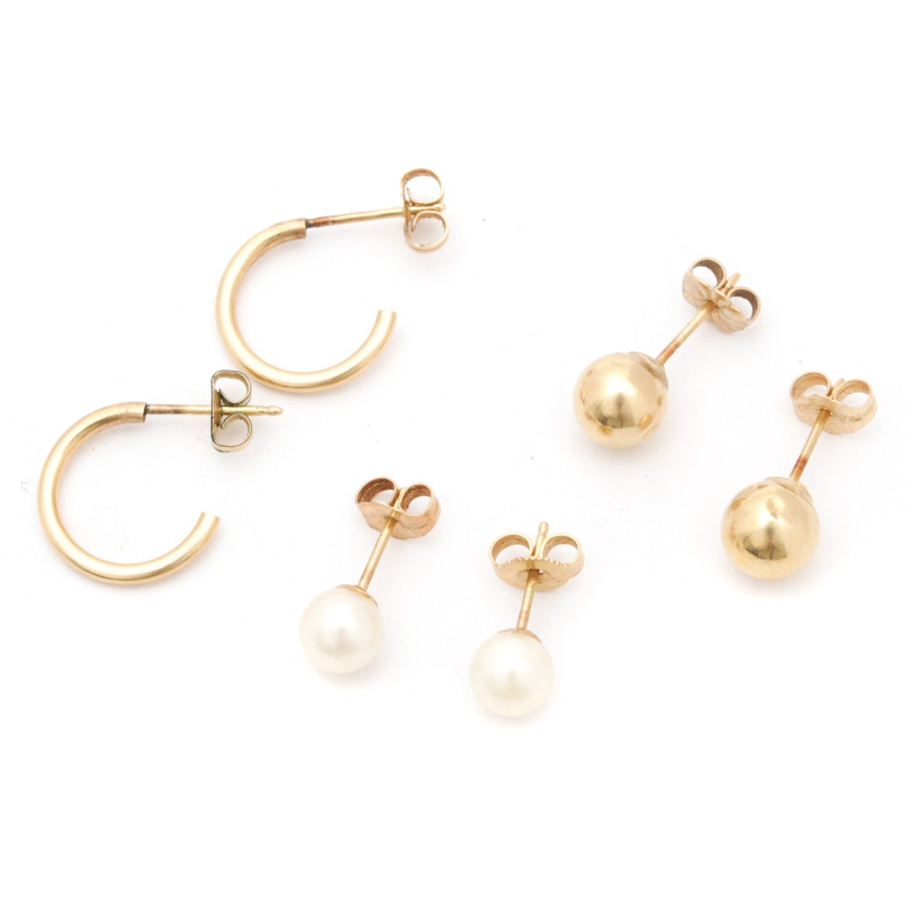 Three Pairs of 14K Yellow Gold Earrings Featuring Cultured Pearl