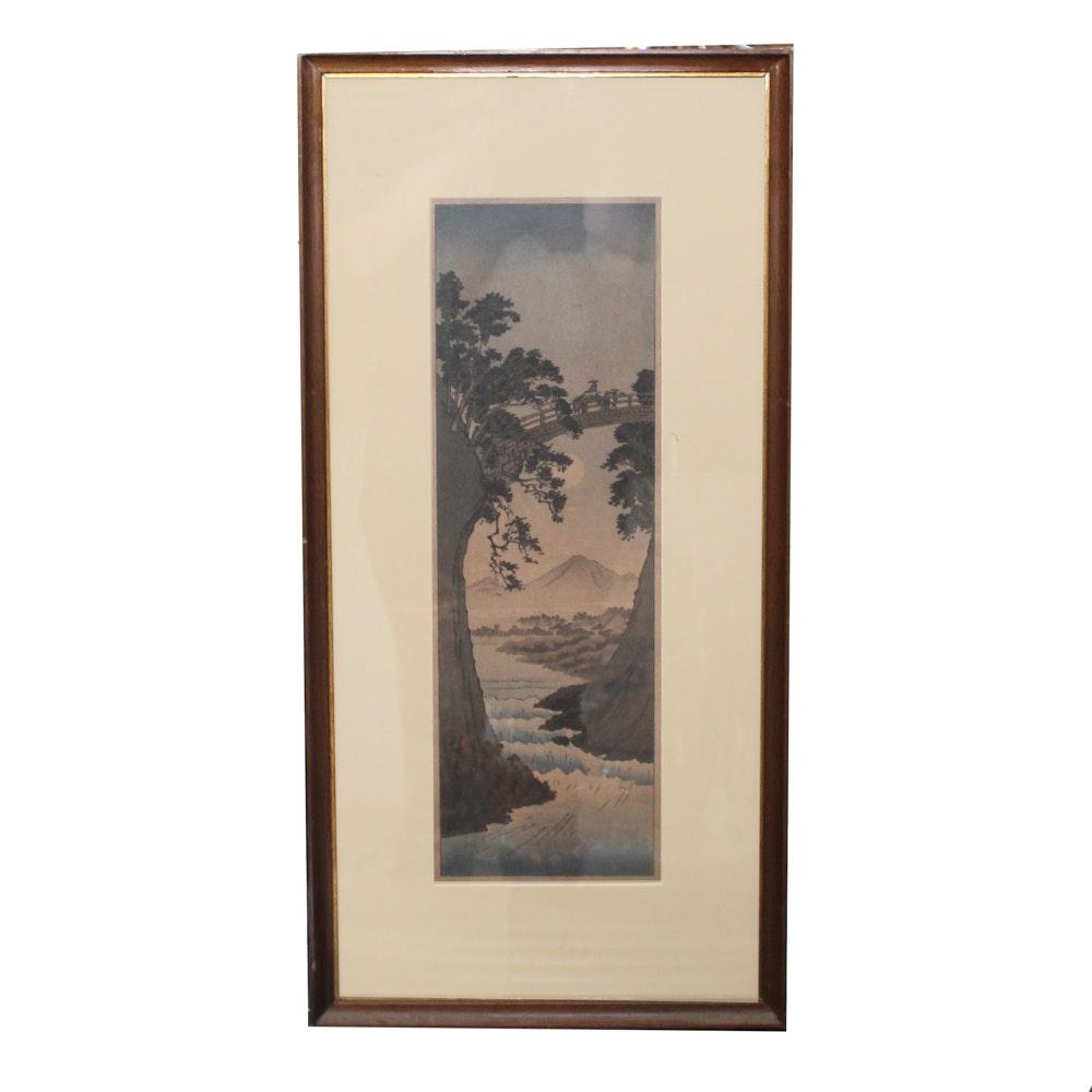 "Woodblock Print after Utagawa Hiroshige ""Monkey Bridge in Kai Province"""