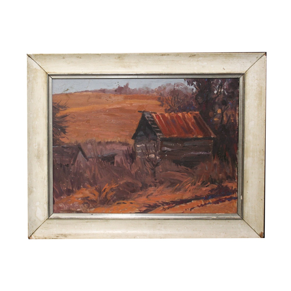 Oil Painting of Barn