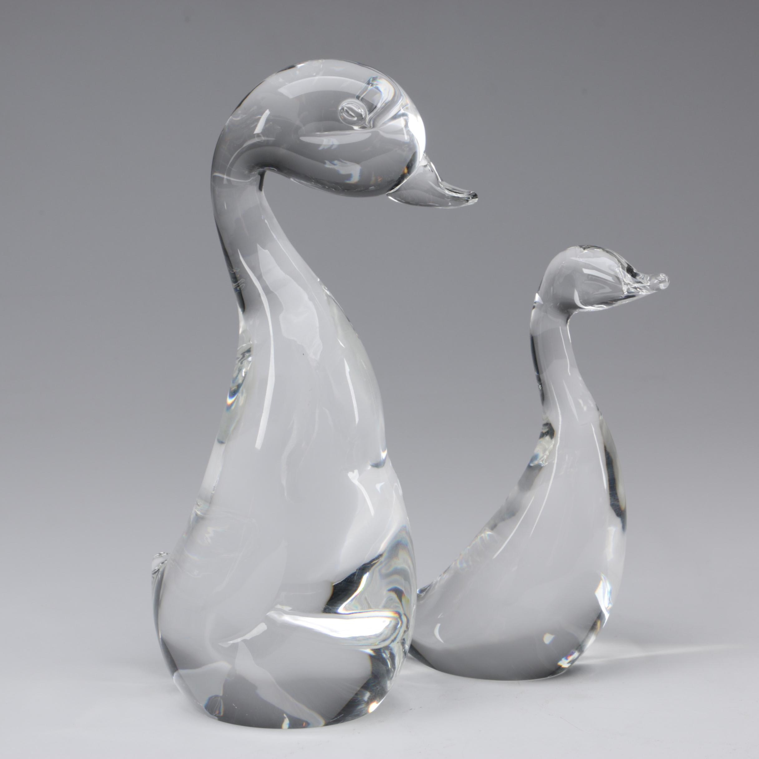 "Steuben Art Glass ""Great Duck"" and ""Gander"" Figurines by Lloyd Atkins"