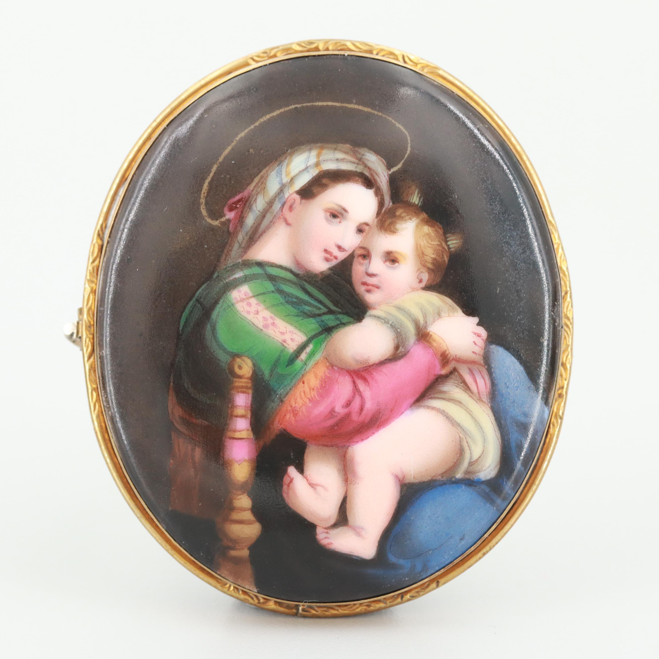 Victorian Gold Tone Porcelain Hand Painted Brooch