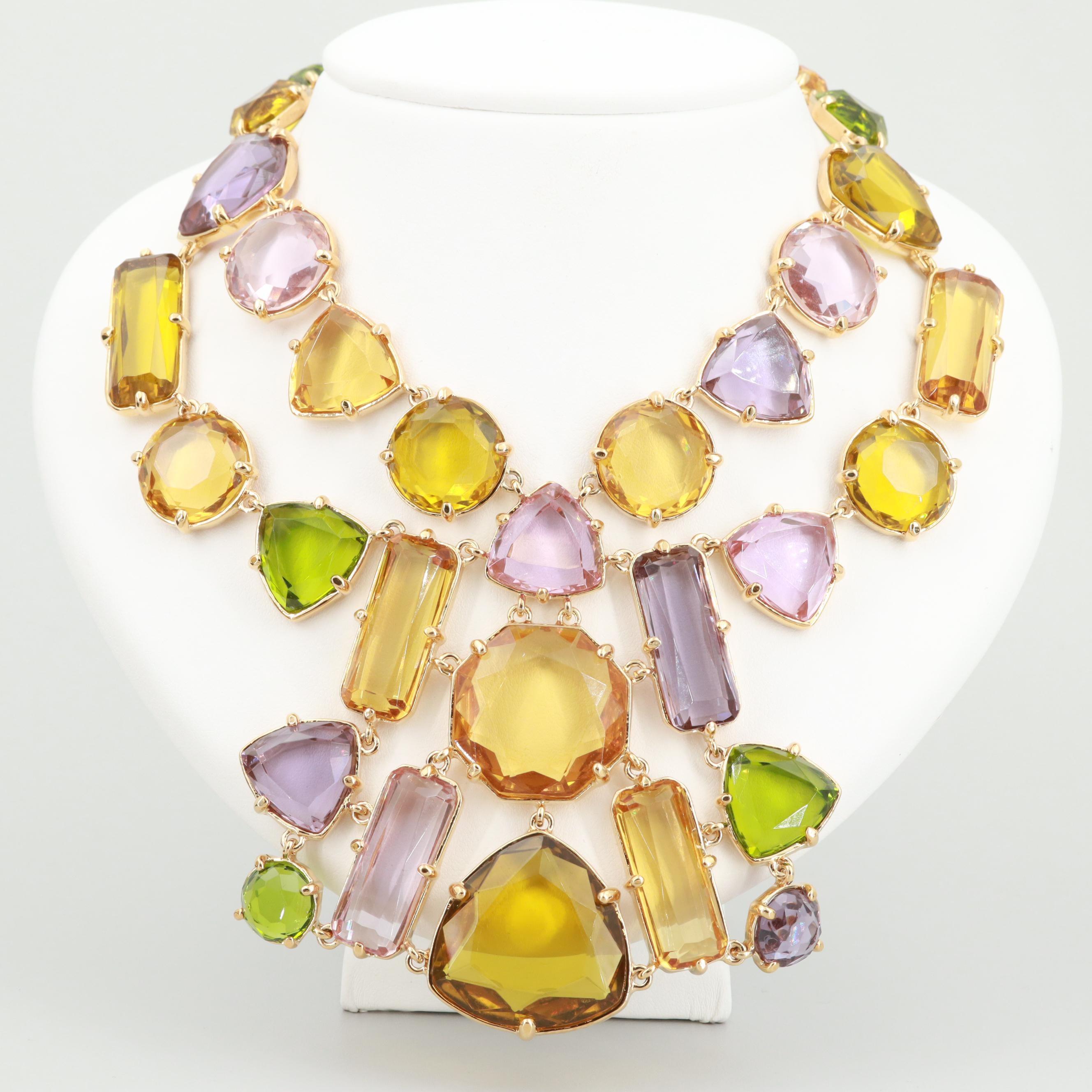 Kate Spade Gold Tone Glass Bib Necklace
