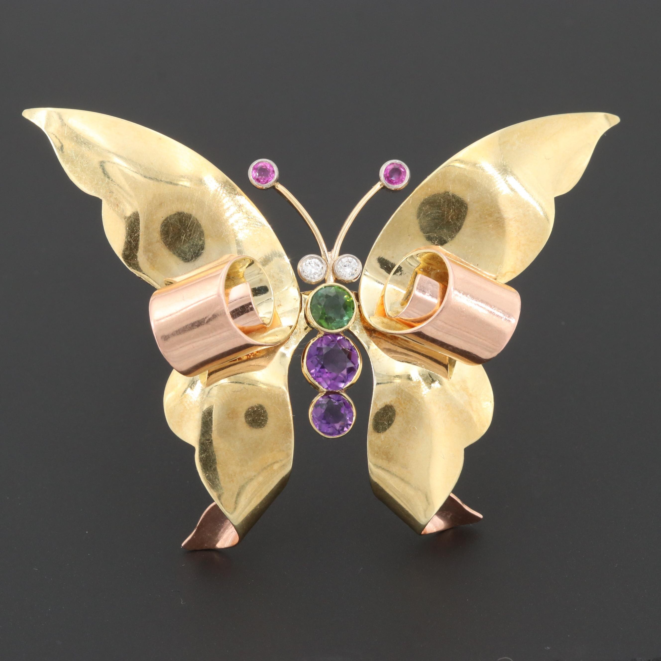 Retro 14K Gold Diamond, Green Tourmaline, Ruby and Amethyst Butterfly Brooch