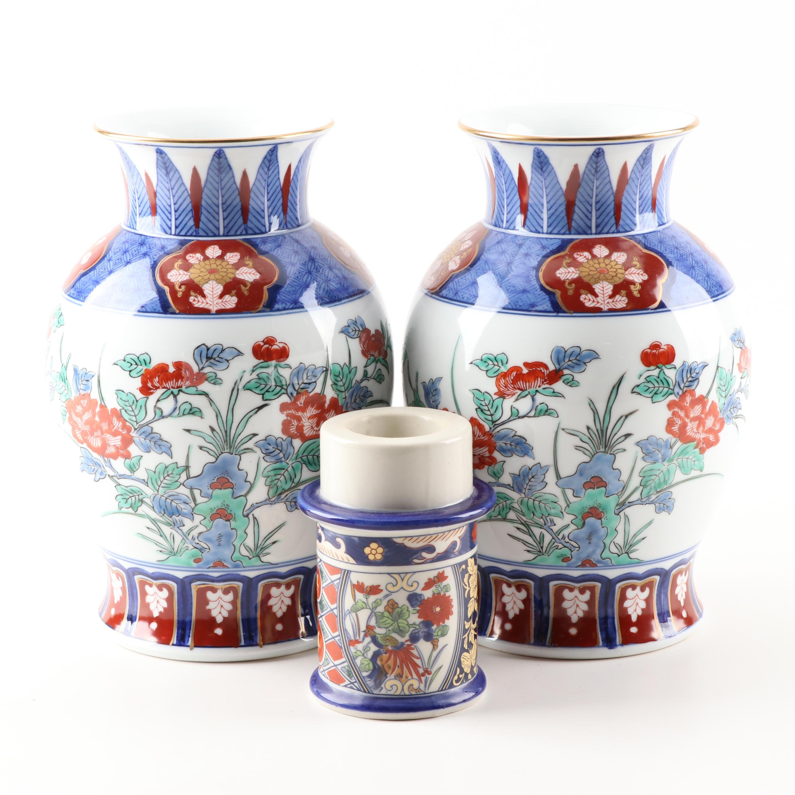 Porcelain Imari Vases and Candle Holder
