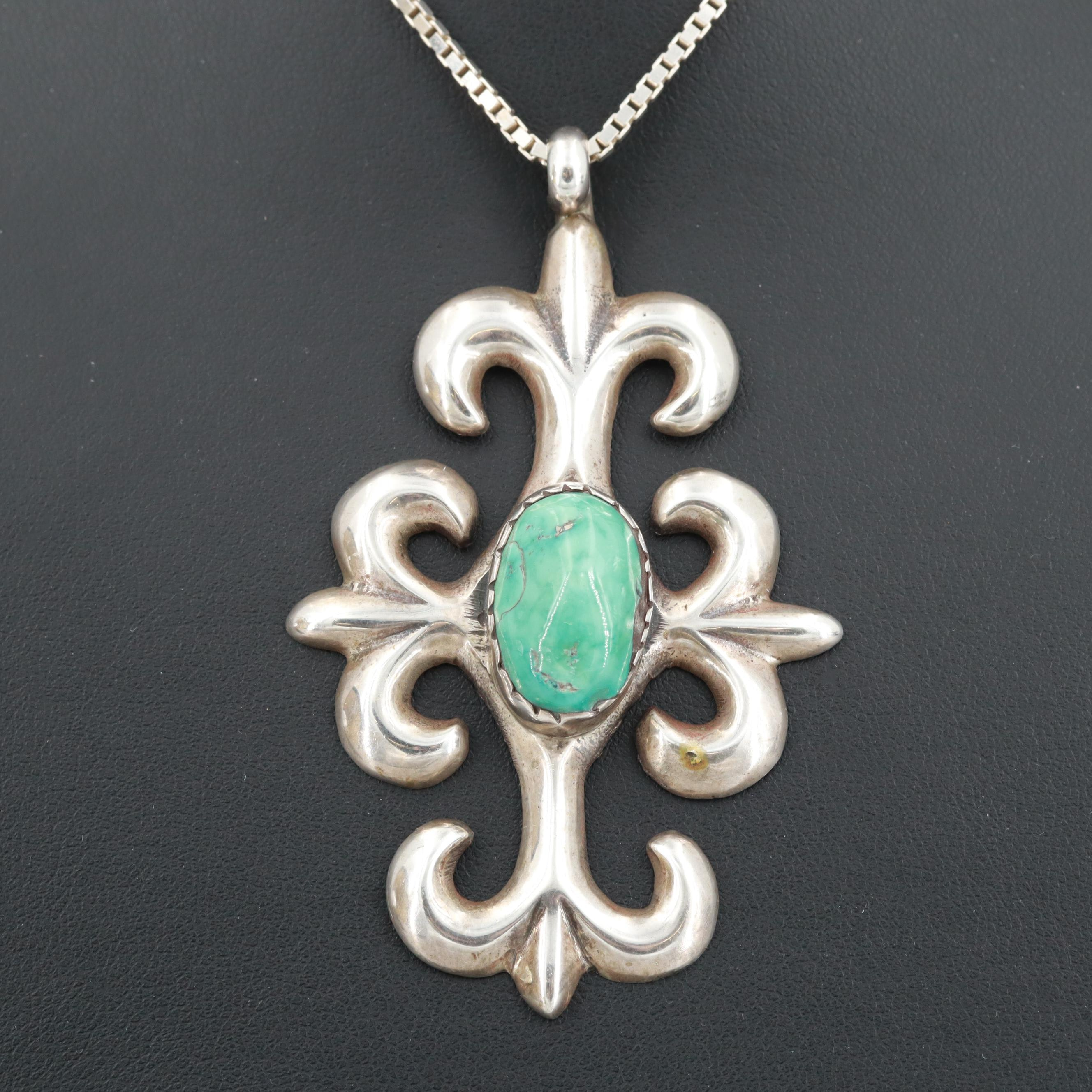 Southwestern Sterling Silver Sand Cast Turquoise Necklace