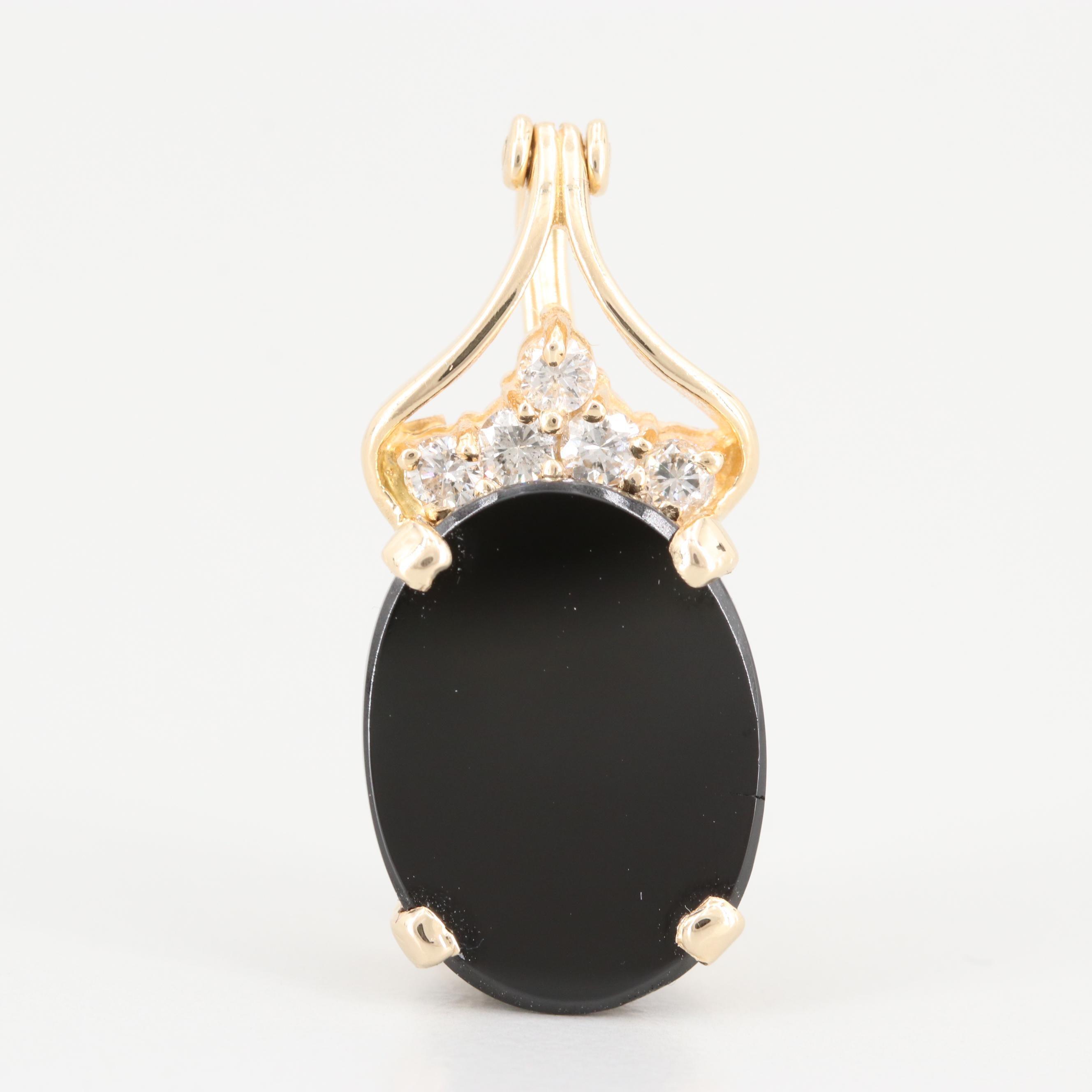 14K Yellow Gold Black Onyx and Diamond Enhancer Pendant