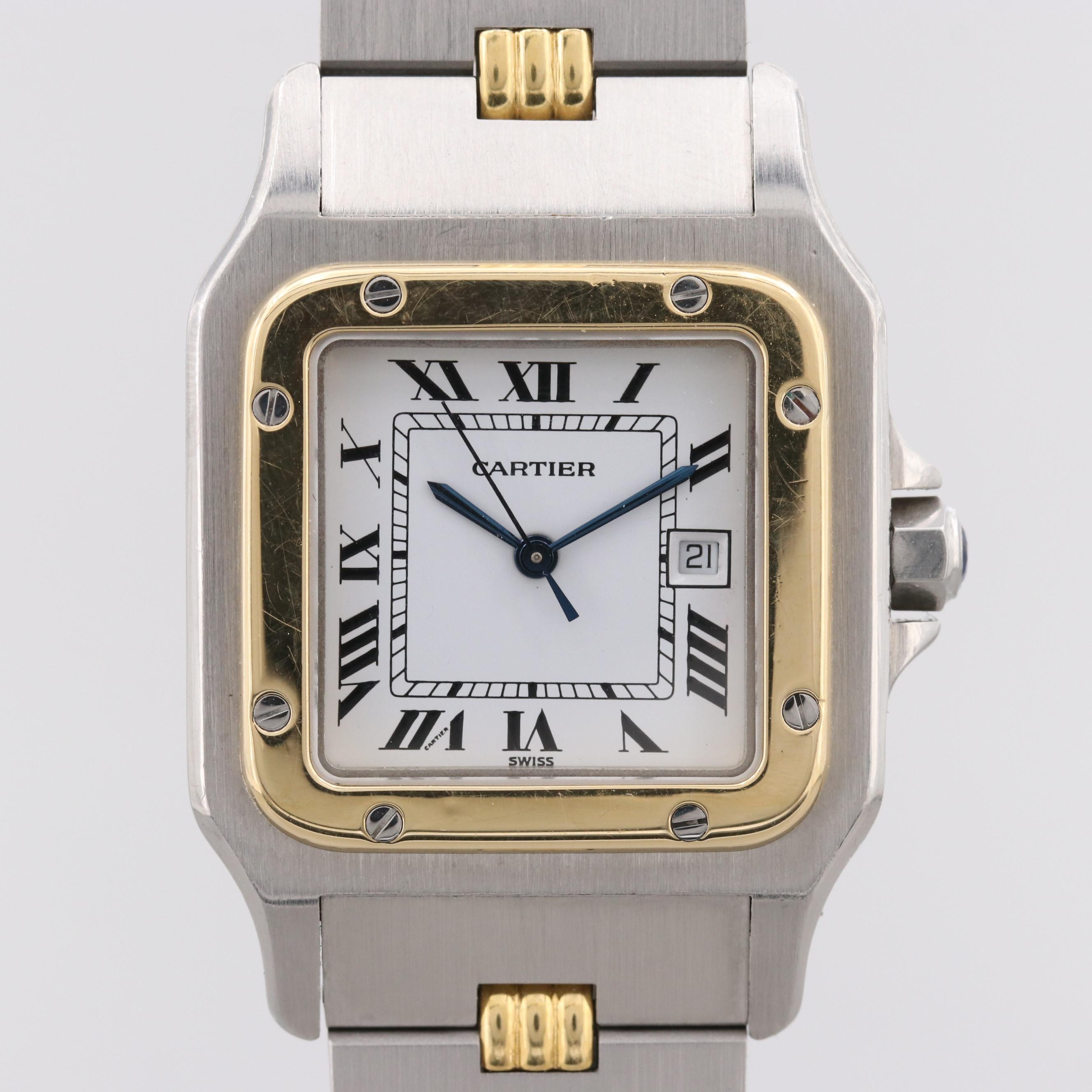 Cartier Santos Galbee Stainless Steel and 18K Yellow Gold Automatic Wristwatch